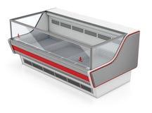 Det rektangulära kylskåpet ställer ut Arkivbild