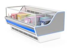 Det rektangulära kylskåpet ställer ut Arkivbilder