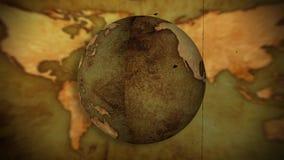 Det retro jordklotet roterar i en ögla royaltyfri illustrationer