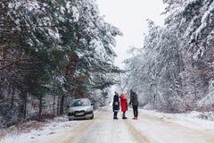 det roliga företaget med behandla som ett barn lite på en snöig väg under vinter sörjer Arkivfoton