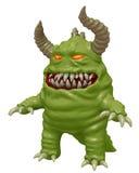 Det roliga gulliga monstret med horn 3D framför Arkivbild