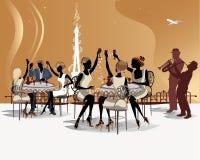 Det romantiska folket dricker kaffe i det Paris kafét med en sikt av Eiffeltorn vektor illustrationer