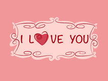 Det romantiska gåvakortet med hjärta- och förälskelsetext i tappning utformar Arkivbild