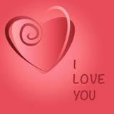 Det romantiska gåvakortet med röd hjärta och förälskelse smsar Arkivfoto