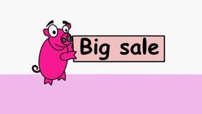 Det rosa svinet bär en befordrings- stor försäljning Animerad video för säljare som meddelar försäljningen till köpare