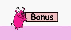 Det rosa svinet bär en bonusbanerannonsering Befordrings- video 4k med en inskriftbonus