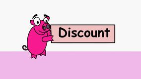 Det rosa svinet uthärdar en annonserande rabatt Befordrings- video för säljare som meddelar prissänkningar till deras kunder