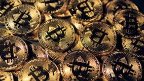 Det roterande ljuset på att visa bitcoins i detalj lager videofilmer