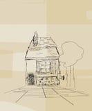 Det rumänska huset skissar Arkivbilder