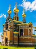Det ryska kapellet på Mathildenhöhen i Darmstadt, nära brölloptorn, Tyskland arkivfoton