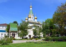 Det ryska kyrkliga helgonet Nikolay i Sofia City royaltyfria foton