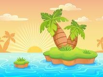 Det sömlösa landskapet med tecknade filmen deserterade stranden och palmträd Royaltyfri Fotografi