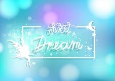 Det söta dröm- ramkortet, kalligrafibandstil, stjärnor sprider gnistrandekonfettier dekorerar romantiskt nattplatsbegrepp, royaltyfri illustrationer