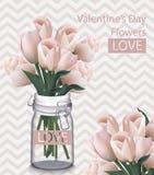 Det söta valentindagkortet med tulpan blommar den realistiska vektorn retro bakgrunder Royaltyfria Bilder