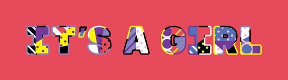 Det ` s ett flickabegreppsord Art Illustration vektor illustrationer