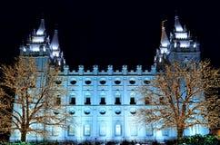 Det Salt Lake City tempelet kvadrerar jul tänder Fotografering för Bildbyråer