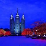 Det Salt Lake City tempelet kvadrerar jul tänder Royaltyfria Foton