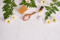 Det salta badrummet, tvål och arom oljer för brunnsort på vit bakgrund till royaltyfri bild