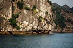 Det sceniska berget vaggar framsidaklippan i havsvattnet, gröna träd, a Arkivfoton