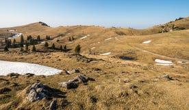 Det sceniska landskapet av högt alpint betar Velika Planina nära Kamnik, Slovenien under vårtid Arkivbild