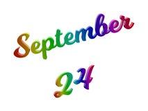 Det September 24 datumet av månadkalendern, framförde Calligraphic 3D textillustrationen färgad med RGB-regnbågelutning Arkivbild