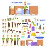 Det sjuka manliga teckenet - ställ in för animering med olika sikter stock illustrationer