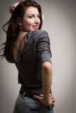 Det skämtsamma medlet för modellvisningtungan sköt lutningbakgrund Royaltyfria Foton