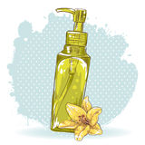 Det Skincare sminket buteljerar det isolerade kortet Royaltyfri Fotografi