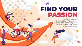 Det skriftliga horisontalplana banret finner din passion royaltyfri illustrationer
