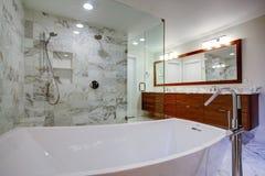 Det släta badrummet med det fristående badkaret och går i dusch arkivbild