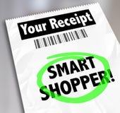 Det smarta shopparelagerkvittot uttrycker cirklat spendera pengar klokt Arkivbild