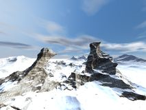 Det snöig berg landskap arkivbilder