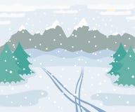 Det snöig vinterberglandskapet med skidar spår på snö, prydliga träd, skog, och kullar, övervintrar utomhus- sikt med vektor illustrationer