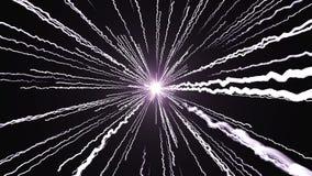 Det snabba flyget av ljusa ljusa skinande strimmor, dator frambragd modern abstrakt bakgrund, 3d framför stock illustrationer