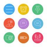 det sociala massmedia, den smarta telefonen, mobilen, internet, eps-symboler ställde in v stock illustrationer