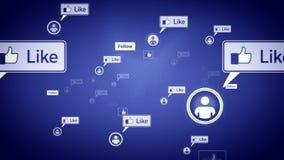 Det sociala massmedia gillar den purpurfärgade dockan stock video