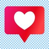 Det sociala massmedia gillar symbolen, hjärta i anförandebubblan, vektorillustration royaltyfri illustrationer