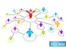 Det sociala massmedia knyter kontakt. Vektorillustration Arkivbilder