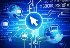 Det sociala massmedia med sociala massmediasymboler Arkivfoton