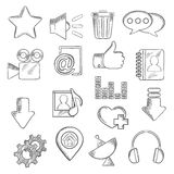 Det sociala massmedia och multimediasymboler, skissar stil Arkivfoton