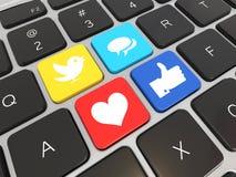 Det sociala massmedia på bärbar dator skrivar. vektor illustrationer