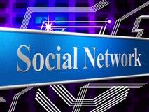 Det sociala nätverket föreställer förbindande folk och vänner Fotografering för Bildbyråer