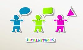 Det sociala nätverksfolket pratar online-logo Royaltyfri Bild