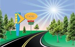 Det soliga väglagret shoppar försäljningstecknet Royaltyfri Foto