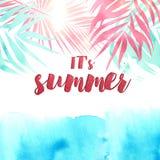 Det sommartext för ` s inom vattenfärgvändkretsar Royaltyfri Bild