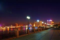Det Songhua River nattlandskapet Jilin arkivbilder