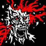 Det sprängda levande dödhuvudet med färgstänk av blod och skallen splittrar också vektor för coreldrawillustration Royaltyfria Bilder