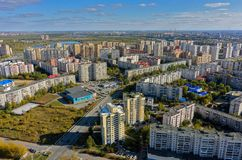 Det 1st Zarechny bostads- området Tyumen Ryssland Royaltyfria Foton
