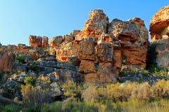 Det Stadsaal grottalandskapet i Cederbergen, Sydafrika Arkivbilder
