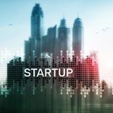 Det Startup begreppet med dubbel exponering diagrams suddig bakgrund royaltyfria bilder